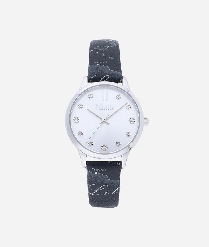 Formentera Watch with Geo Night print leather strap,front