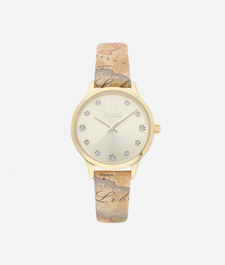 Formentera Watch with Geo Classic print leather strap,front