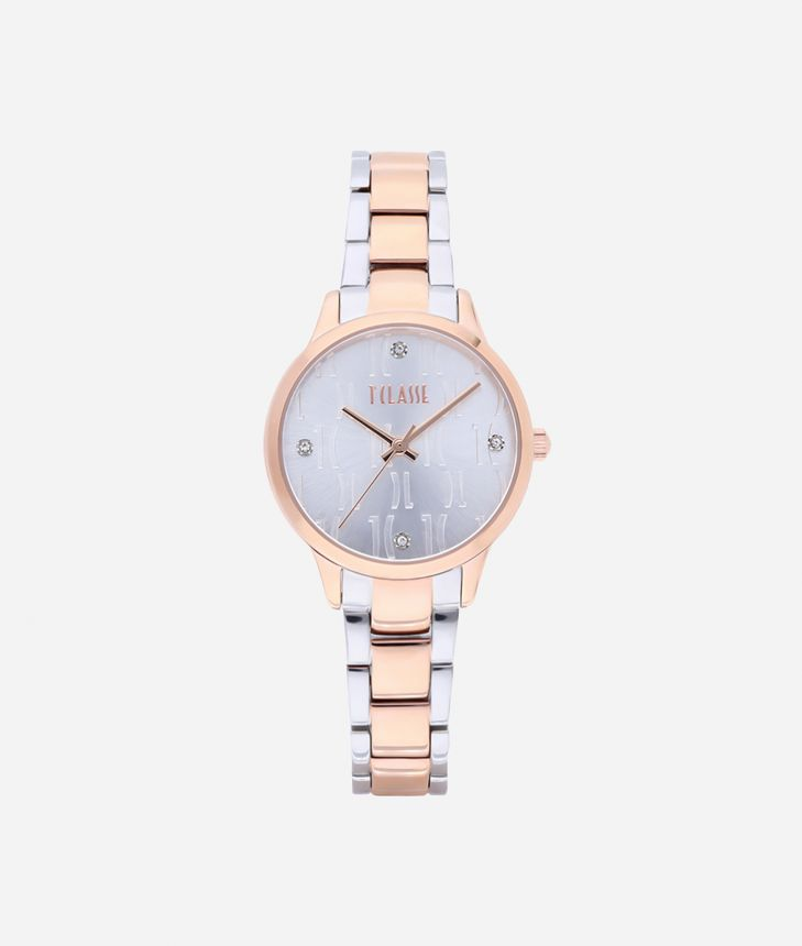 Formentera Bicolor stainless steel watch Silver and Rose Gold,front