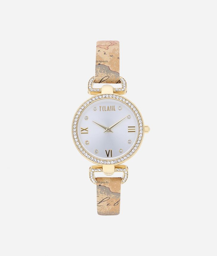 Madagascar Watch with Geo Classic print leather strap,front