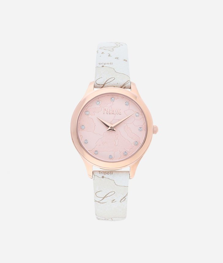 Ischia Watch with Geo White print leather strap,front