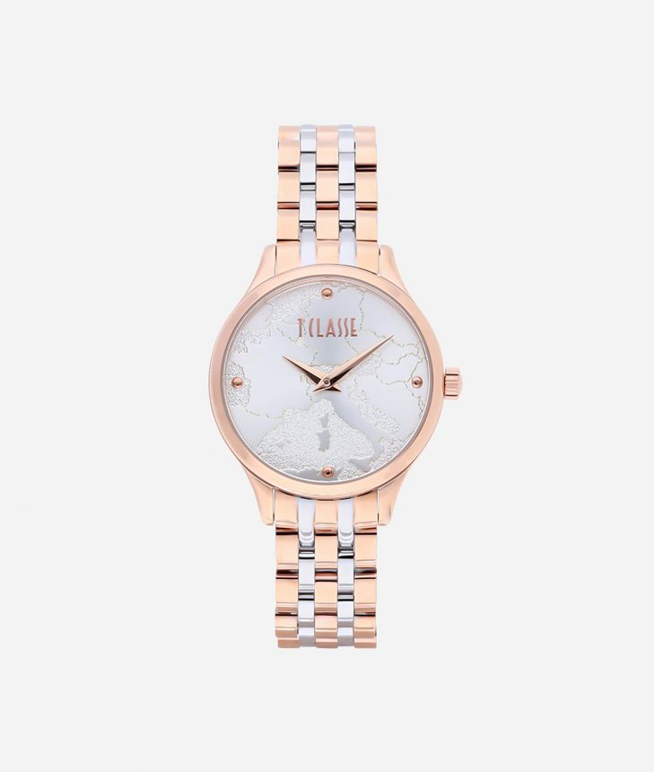 Capri Bicolor stainless steel watch Rose Gold and Silver,front