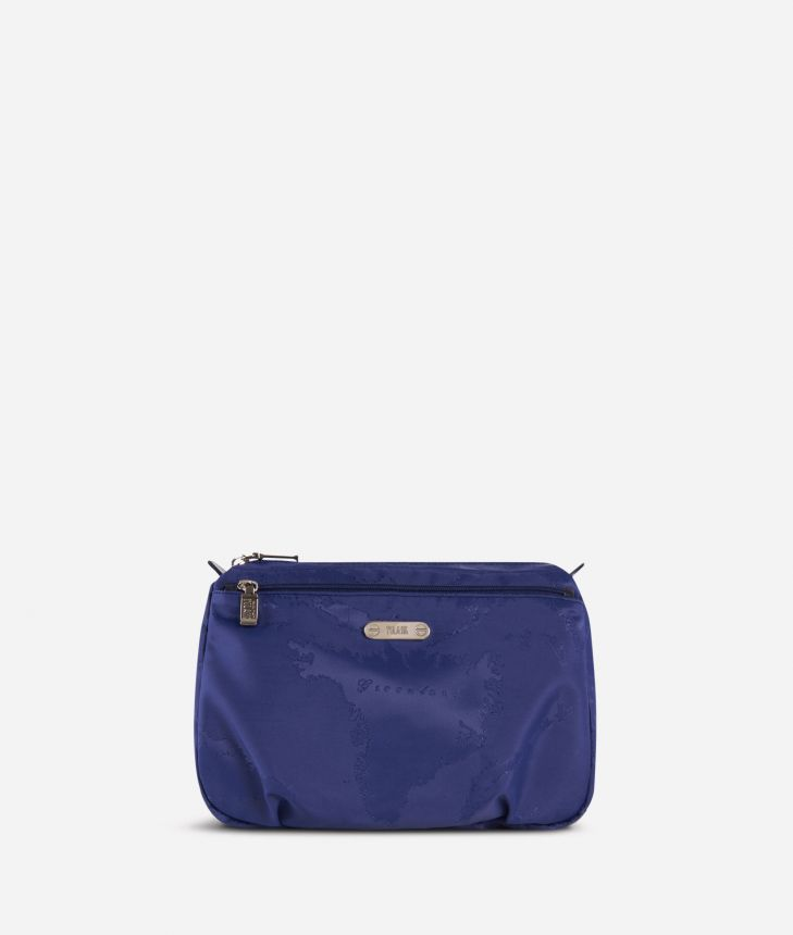 Large beauty case in blue Geo fabric,front