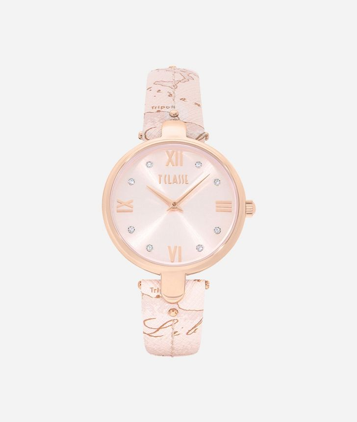 Santorini Watch with saffiano leather strap Geo Nude ,front