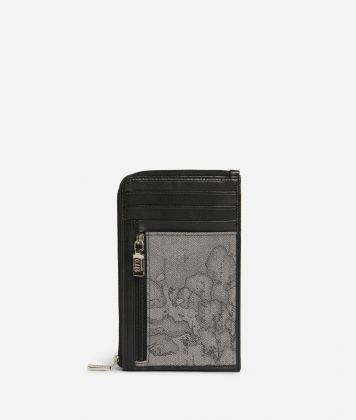 Small leather crossbody bag Geo Classic fabric trims