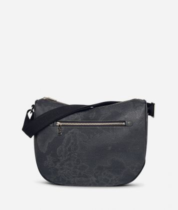 Geo Black Medium half-moon handbag