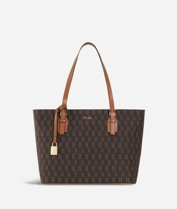 Monogram Medium Shopping Bag Dark Buff