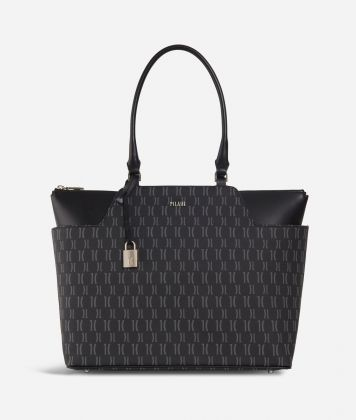 Monogram Shopping Bag with pockets Black