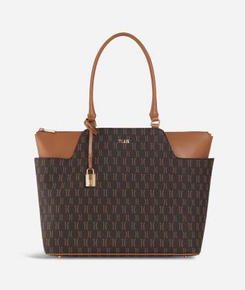 Monogram Shopping Bag with pockets Dark Buff