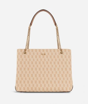 Monogram Shoulder bag with chain Cream