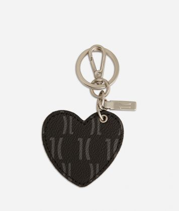 Monogram Heart-shaped Keyring Black