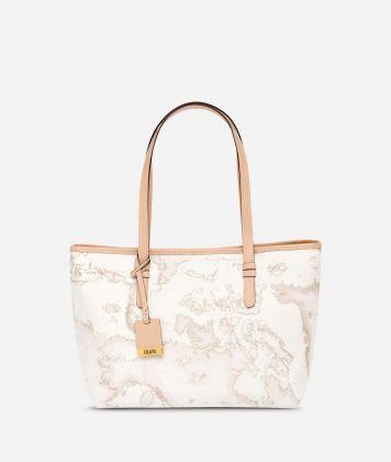 Geo White Medium shopping bag