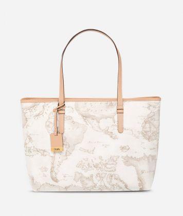 Geo White Large shopping bag