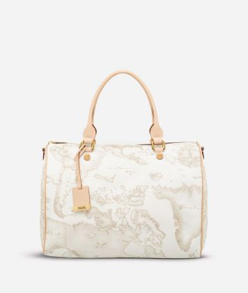 Geo White Large Boston bag