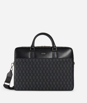 Monogram Briefcase with shoulder strap Black