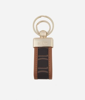 Monogram Keychain with double ring Brown