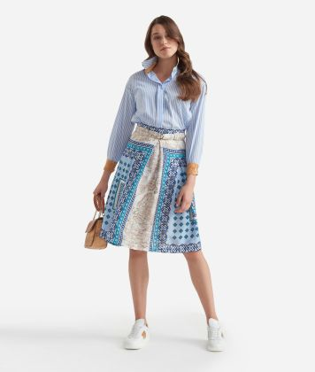 Wide skirt with belt in twill with Mosaic print Light Blue