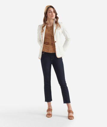 Jersey unlined blazer White