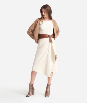 Sheat dress in stretch fabric White
