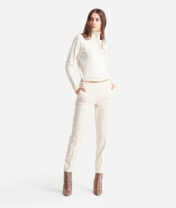 Straight Trousers in cavallery stretch fabric White
