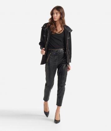 Slim-fit pants in mock-croc print eco-leather Black