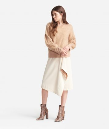 Crewneck sweater in misto lana e mohair Beige