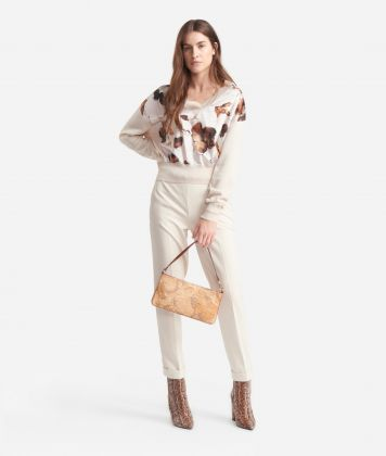 V-neck sweater  in wool blend White