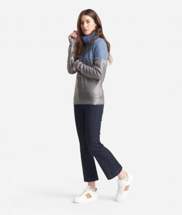 Turtleneck  in laminated wool Grey and Light Blue