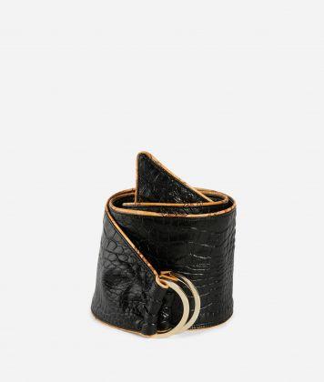 Bustier belt in mock-croc print eco-leather Black