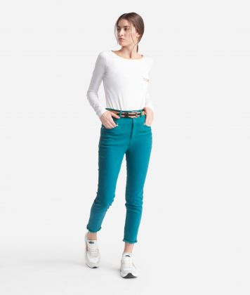5-pockets skinny pants Green