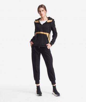 Sweatshirt with hood and Geo Classic insert Black