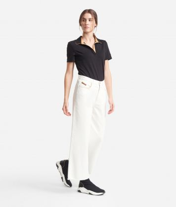Polo with short sleeves in cotton Black