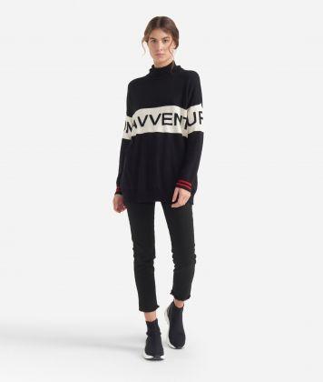 Turtleneck sweater with maxi logo jacquard White and Black