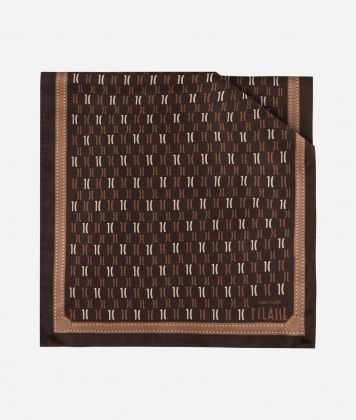 Scarf with 1C Monogram print 45 x 180 Brown