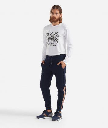 Fleece pants with drawsting Dark Blue
