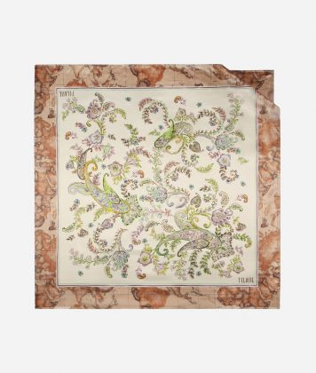 Twill Foulard with Paisely print White