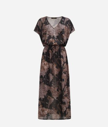 Long dress in crêpe with Geo Animalier Black