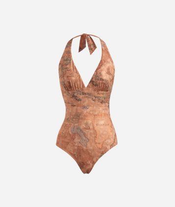 One-piece swimsuit in lamé fabric Bronze