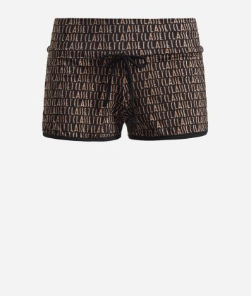 Lycra shorts with Logomania print Black