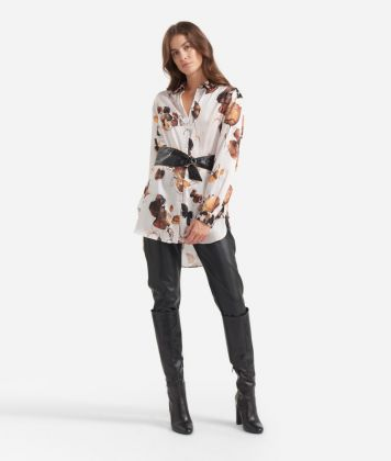 Oversize Shirt in twill with Geo Fiore print Beige and White