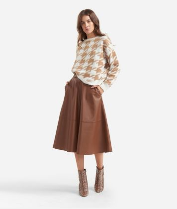 Crewneck sweater with macro pied-de-poule print White and Beige