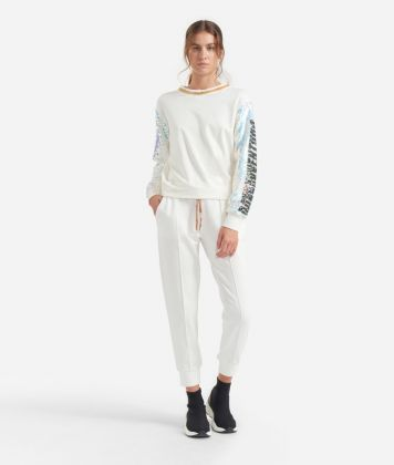 Jogging pants in fleece White