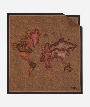 Foulard with Geo Color print 70 x 70 Brown