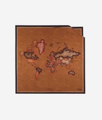 Foulard with Geo Color print 90 x 90 Brown