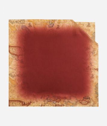 Foulard with Geo Sfumato print 70 x 70 Red