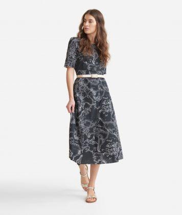 Longuette dress with Geo micro pois print Black anche White