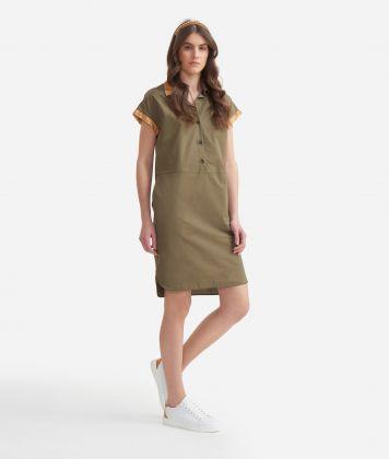 Chemisier Dress in cotton poplin Green