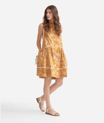 Dress with flounce in poplin cotton with Geo Classic print