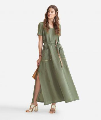Long dress in linen blend Green