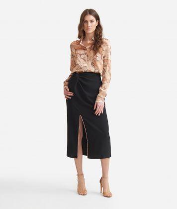Longuette skirt in fluid fabric Black